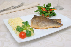 Baked Fillet Of Sea Bass Stock Images