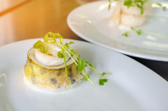 Baked fillet of pikeperch, zander. Served on a plate Stock Images