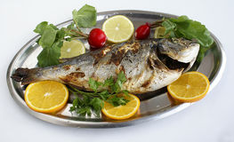 Baked fish. Photo of baked fish with lemons and oranges stock images