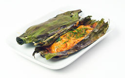 Baked fish cake in coconut leaf thai food Royalty Free Stock Images