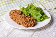 Baked fish cakes on a plate Royalty Free Stock Images