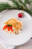 The baked fish with celery salad Royalty Free Stock Photo