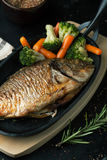 Baked fish dorado with vegetables in a frying pan Stock Image