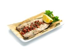 Baked fish fillet with paprika and lemon on an isolated white background. Baked fish fillet with paprika and lemon in a white rectangular plate on an isolated royalty free stock images