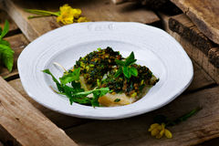 The baked fish fillet with a ramson Royalty Free Stock Images