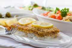 Baked fish fillet wih couscous salad Stock Images