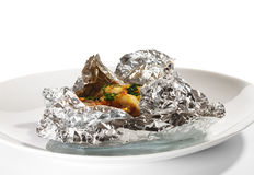 Baked Fish in Foil Stock Photos