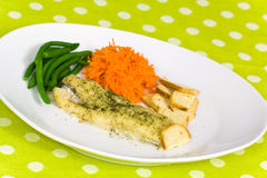 Baked fish with green beans Stock Image
