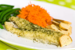 Baked fish with green beans Royalty Free Stock Photography