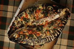 Baked fish on the griddle Royalty Free Stock Photo