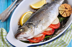 Baked fish with herbs, vegetables and garlic, selective focus Royalty Free Stock Photos