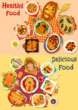Baked fish and meat dishes icon set Stock Photo