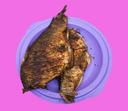 Baked fish on the plate. Pink background Stock Image