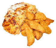Baked Fish And Potato Wedges Stock Images