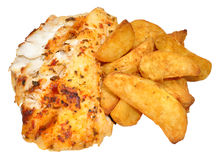 Baked Fish And Potato Wedges Stock Photo
