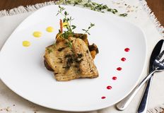 Baked fish with potatoes and mushrooms on white plate Stock Images