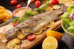 Baked fish with roasted potatoes and salad Royalty Free Stock Image