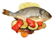 Baked Fish And Roasted Vegetables Stock Images