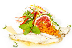 Baked fish with salad Stock Image