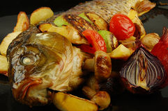 Baked fish. Selective focus. Royalty Free Stock Photos