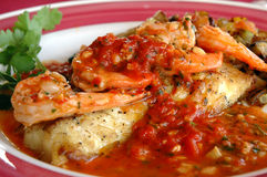 Baked fish and shrimp