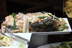 Baked fish on tray Royalty Free Stock Image