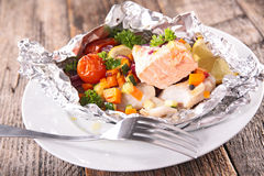 Baked fish and vegetable Royalty Free Stock Photo