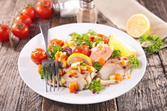 Baked fish and vegetable Royalty Free Stock Image
