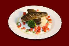 Baked Fish with vegetables Royalty Free Stock Photos