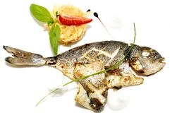 Baked fish with vegetables Royalty Free Stock Photography