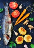 Baked fish with vegetables on a black background Royalty Free Stock Photo