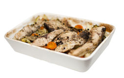Baked fish with vegetables with clipping mask Stock Photography