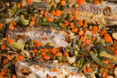 Baked fish with vegetables close-up. Royalty Free Stock Photography