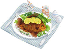 Baked fish with vegetables on a plate Royalty Free Stock Photos