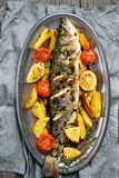 Baked fish and vegetables Stock Photography