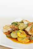 Baked fish with zucchini Royalty Free Stock Photography