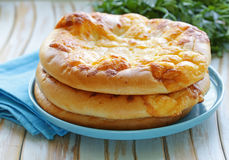Baked flat bread with cheese Royalty Free Stock Image