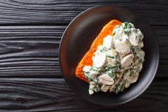 Baked Florentine salmon with creamy wine sauce, seasoned with roasted spinach and mushrooms closeup on a plate. horizontal top. Baked Florentine salmon with royalty free stock photos