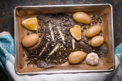 Baked flounder with potato and seasoning in the backing dish on the stone table top view. Horizontal Stock Image