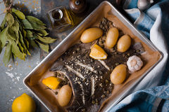 Baked flounder with potato and seasoning in the backing dish on the stone table top view. Horizontal Stock Photography