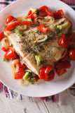 Baked flounder with vegetables close-up on a plate. vertical top Royalty Free Stock Image