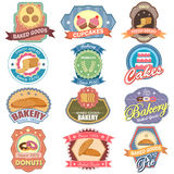 Baked food and Bakery label tag sticker for Advertisement Stock Photo