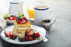 Baked french toast with cream cheese filling stock images