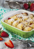 Baked french toast with strawberry royalty free stock photography