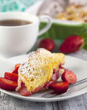Baked french toast with strawberry Stock Image