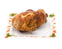 Baked fried chicken carcass isolated on white Royalty Free Stock Photos