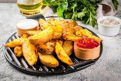 Baked fritou batatas Fotos de Stock Royalty Free