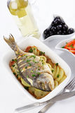 Baked gilt-head sea bream Stock Photography