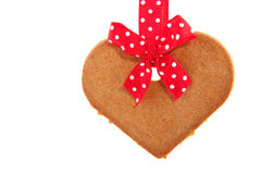 Baked gingerbread cookie heart Stock Image