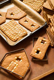 Baked gingerbread cottage components Stock Photos